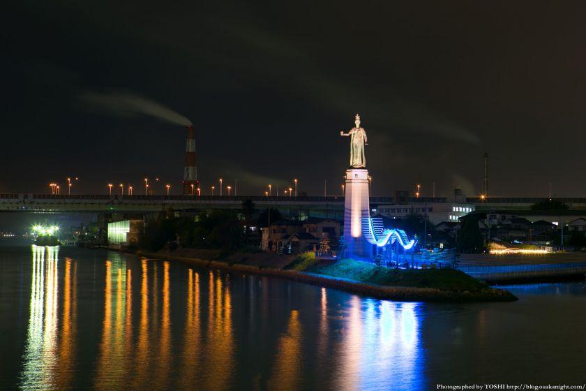 堺旧港 龍女神像の夜景 02
