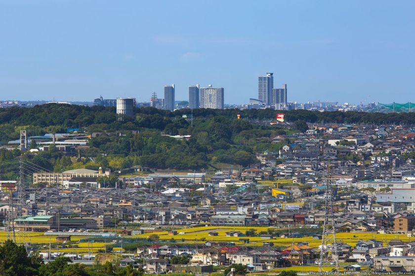 はびきの中央霊園からの眺め 南海北野田駅方面 2013年9月