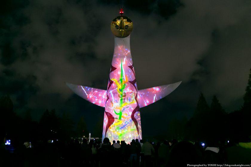 イルミナイト万博Xmas 太陽の塔 ビームペインティング 2013 01
