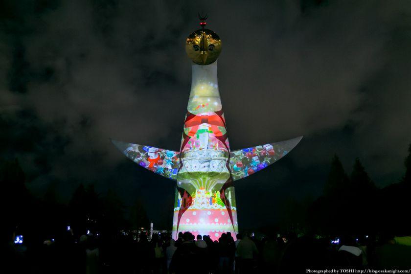 イルミナイト万博Xmas 太陽の塔 ビームペインティング 2013 02