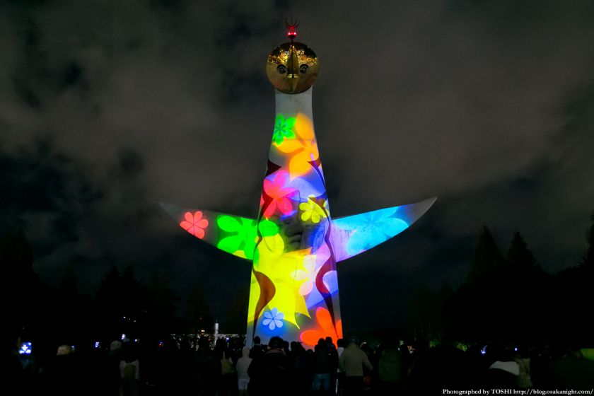 イルミナイト万博Xmas 太陽の塔 ビームペインティング 2013 03
