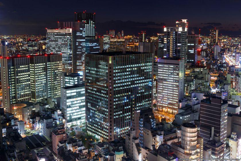 大阪駅前第3ビル 堂島の高層ビル群 夜景 2014年1月