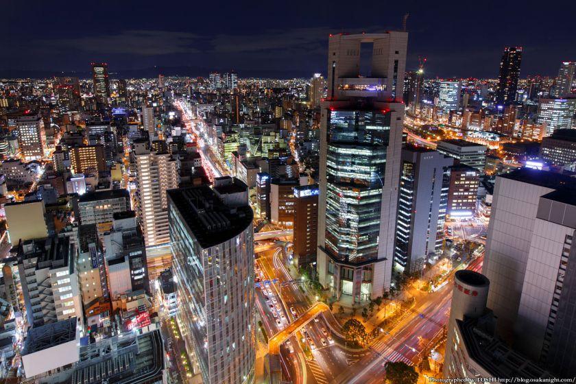 大阪駅前第3ビル 梅田新道交差点 夜景 2014年1月