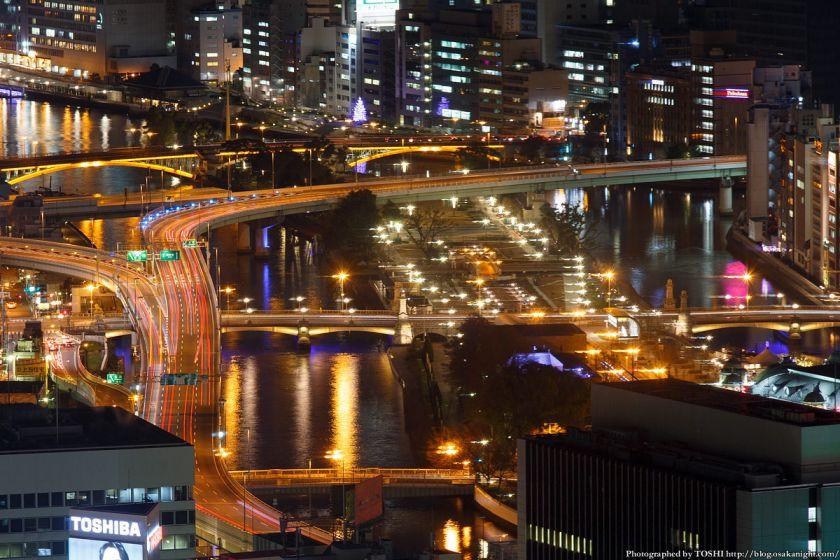 ブリーゼタワーからの夜景 阪神高速&難波橋 2014年1月