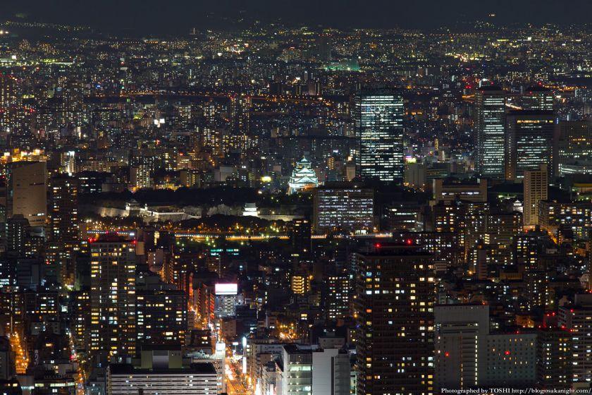 あべのハルカス展望台 ハルカス300からの夜景 大阪城