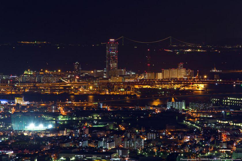 あべのハルカス展望台 ハルカス300からの夜景 南港と明石大橋
