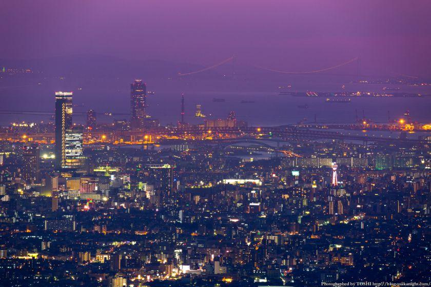 あべのハルカス&明石海峡大橋 夕景 from 生駒山 2014年10月