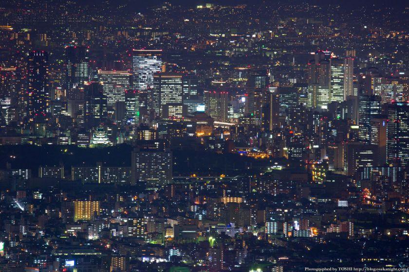 大阪の超高層ビル群 夜景 from 生駒山 2014年10月 02