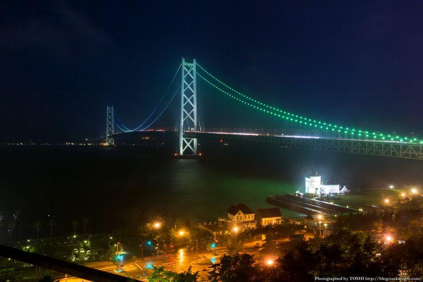 シーサイドホテル舞子ビラ神戸 明石海峡大橋 夜景 (ブルーグリーンライトアップ)