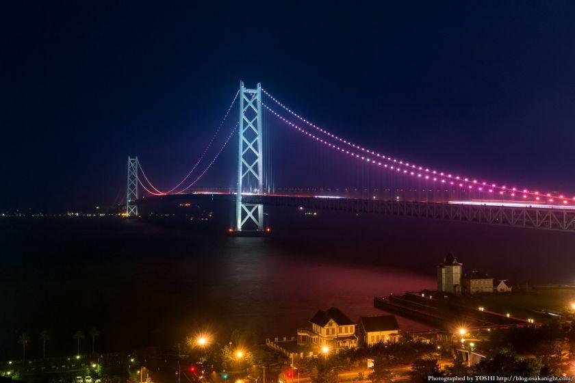 シーサイドホテル舞子ビラ神戸 明石海峡大橋 夜景 (ルビーライトアップ)