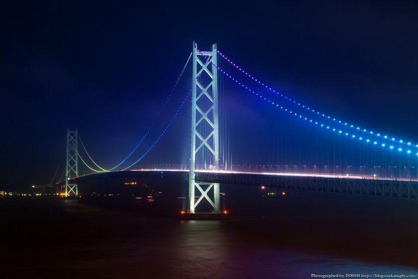 シーサイドホテル舞子ビラ神戸 明石海峡大橋 夜景 (虹ライトアップ) 02