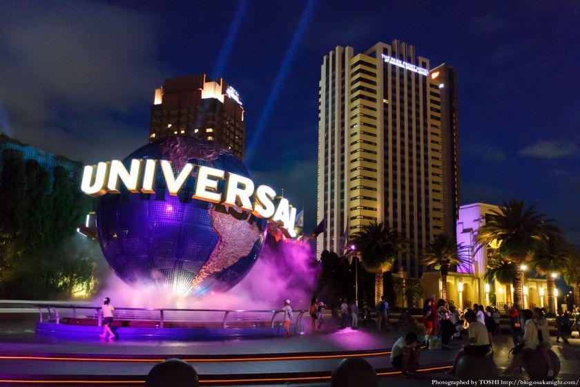 USJ ユニバーサル・グローブとホテル群 夜景 2015年7月