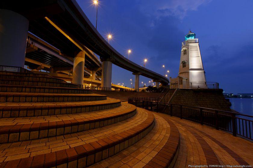 旧堺燈台 ライトアップ 夕景 03