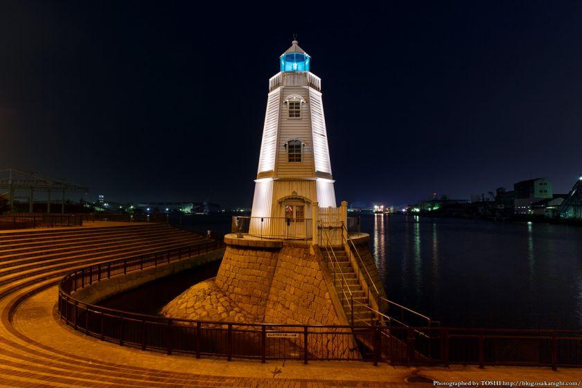 旧堺燈台 ライトアップ 夜景 02
