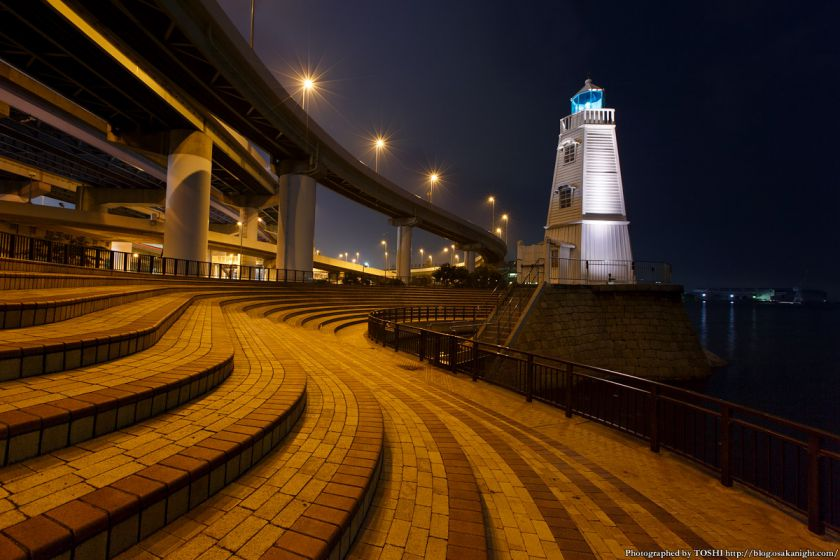 旧堺燈台 ライトアップ 夜景 05