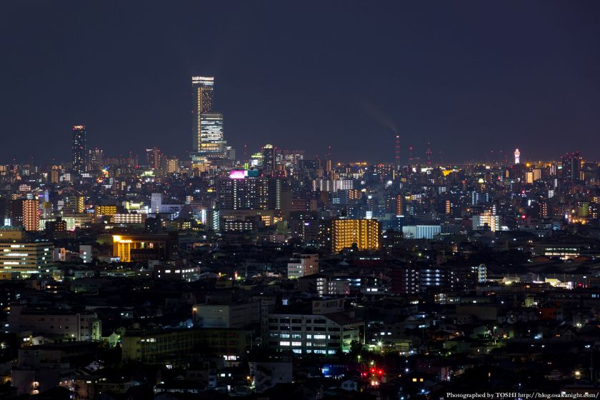 東大阪市役所からの夜景 2016年1月 08 あべのハルカス