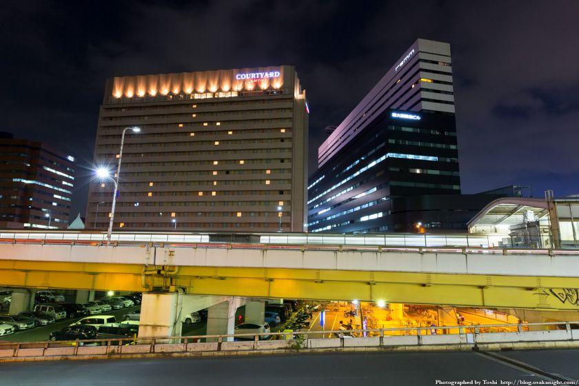 レム新大阪とコートヤード・バイ・マリオット新大阪ステーション 夜景 2016年6月