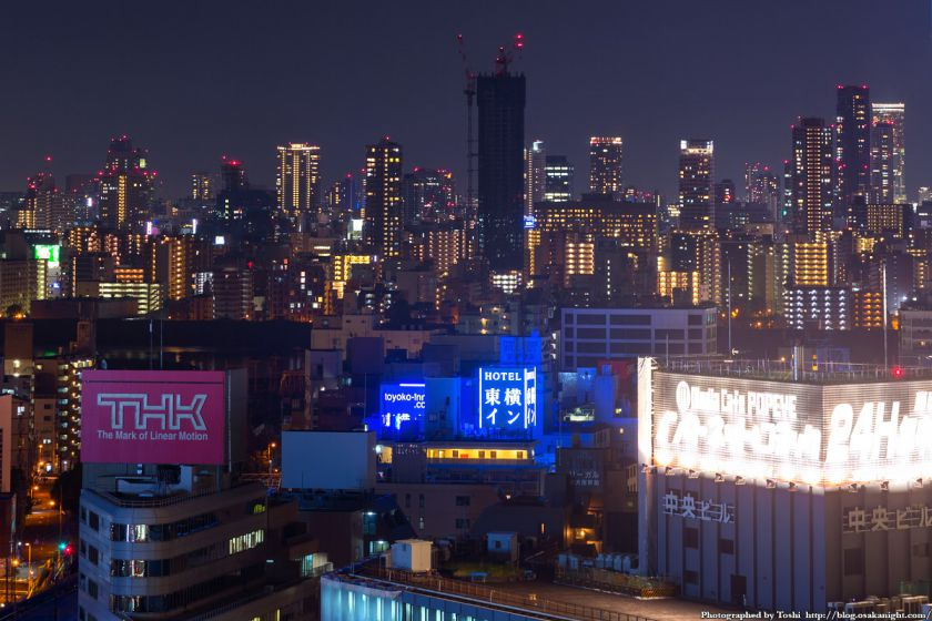 北浜〜天六方面の超高層ビル群 夜景 from レム新大阪 2016年6月