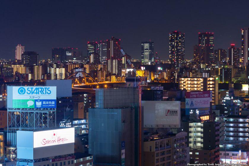 天満〜京橋方面の超高層ビル群 夜景 from レム新大阪 2016年6月
