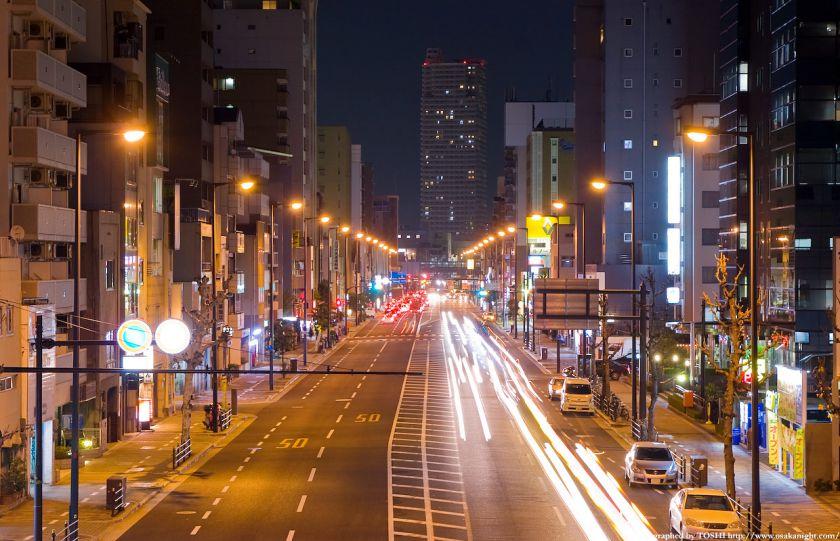 大坂橋から見た京橋方面の夜景