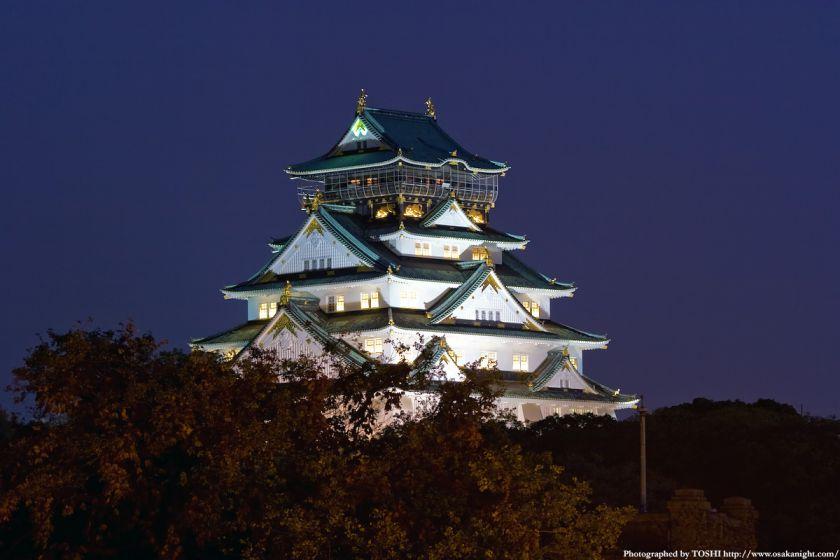 大坂橋から見た大阪城天守閣の夜景