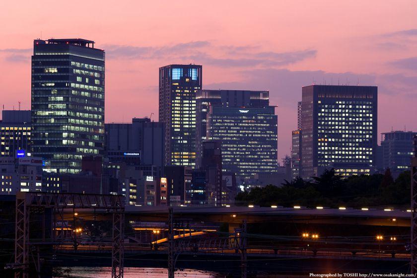 大坂橋から見た中之島方面の夕景2