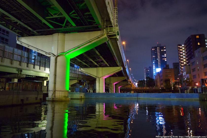 東横堀川クルーズ 東横堀川水門 夜景 2016年9月