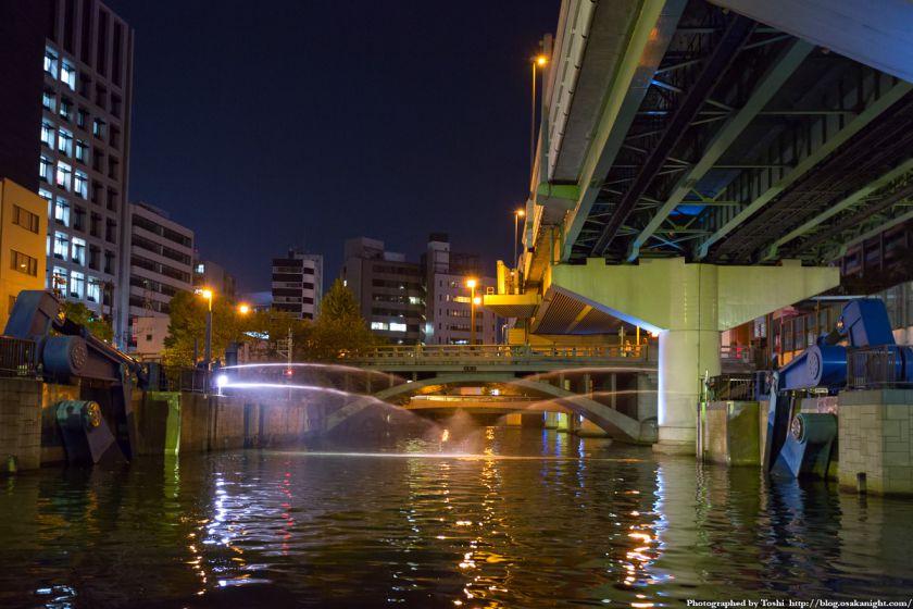 東横堀川クルーズ 東横堀川水門 高麗橋 夜景 01 2016年9月