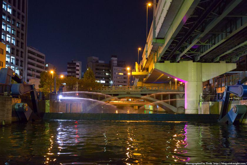 東横堀川クルーズ 東横堀川水門 高麗橋 夜景 02 2016年9月
