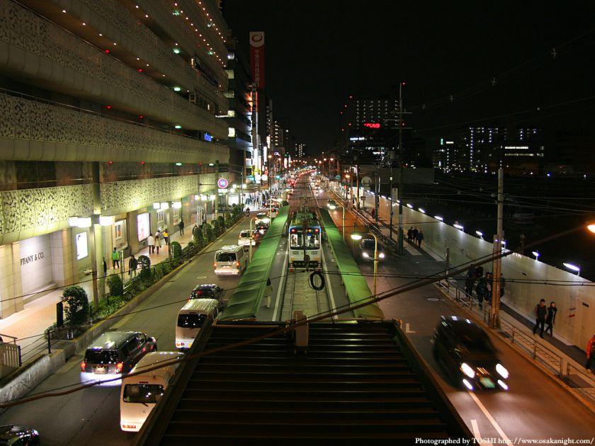 阪堺電車 天王寺駅前駅の夜景