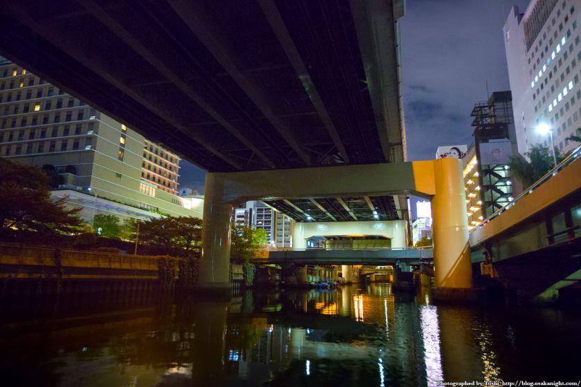 東横堀川クルーズ 阪神高速本町出口 夜景 02 2016年9月