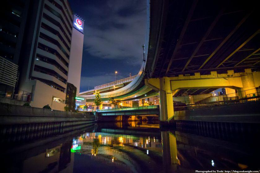 東横堀川クルーズ 農人橋 夜景 2016年9月