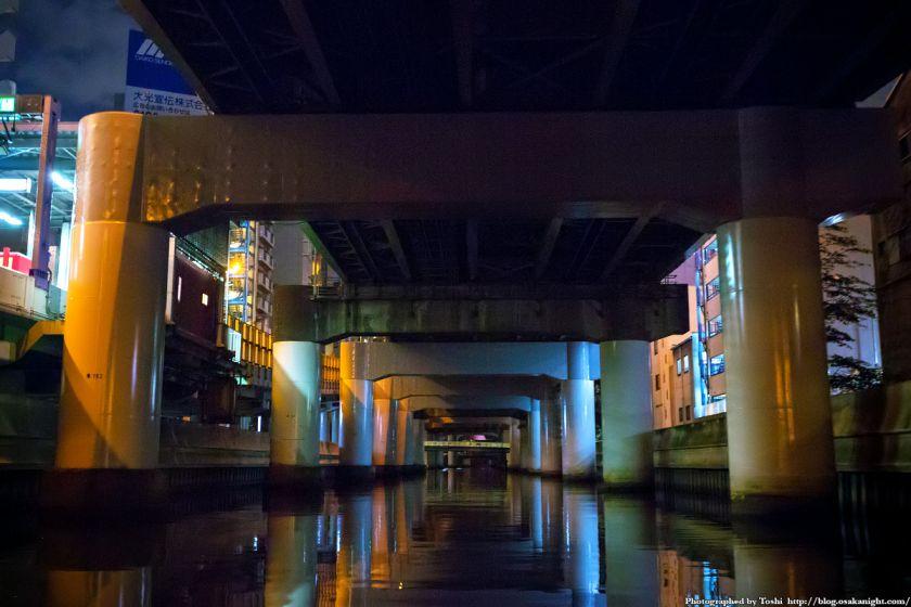 東横堀川クルーズ 久宝寺橋〜安堂寺橋間 夜景 2016年9月