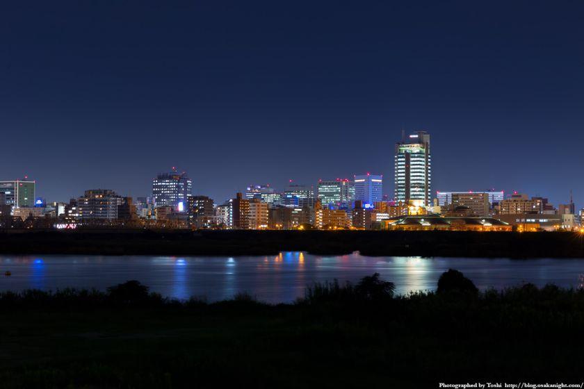 淀川河川公園 長柄地区 新大阪の高層ビル群 夜景 01 2016年10月