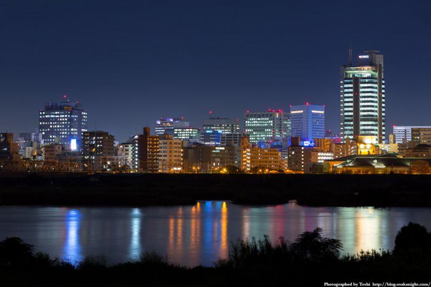 淀川河川公園 長柄地区 新大阪の高層ビル群 夜景 02 2016年10月