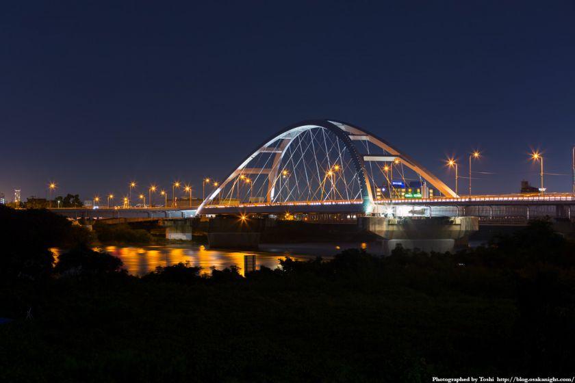 淀川河川公園 長柄地区 長柄橋ライトアップ夜景 2016年10月