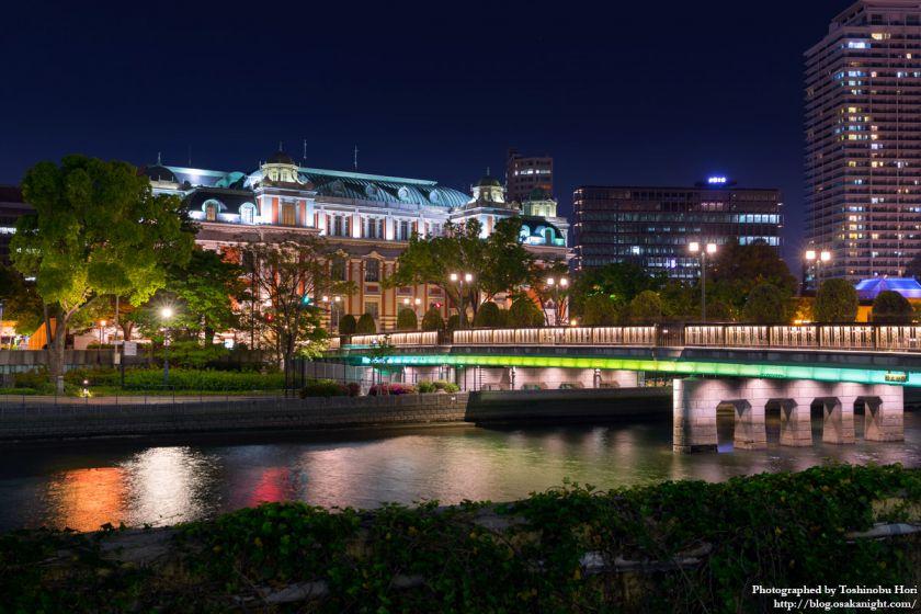 栴檀木橋と大阪市中央公会堂 夜景 2017年4月 02
