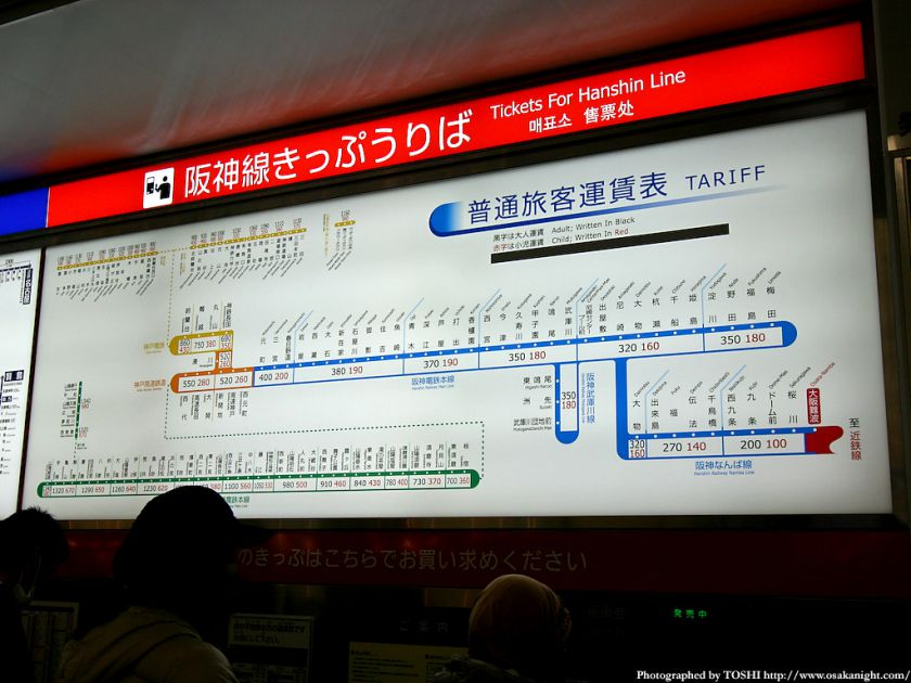 阪神なんば線 運賃表