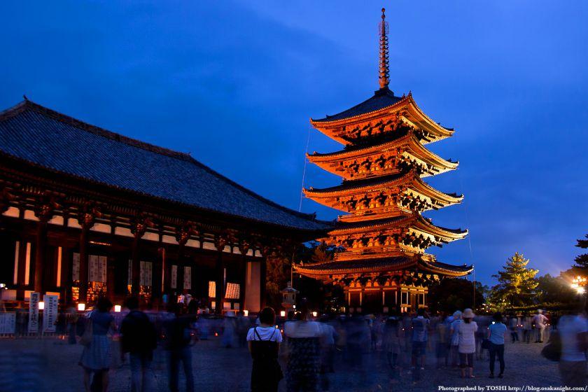 奈良・興福寺のライトアップ
