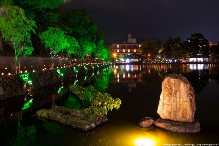 奈良・猿沢池のライトアップ夜景