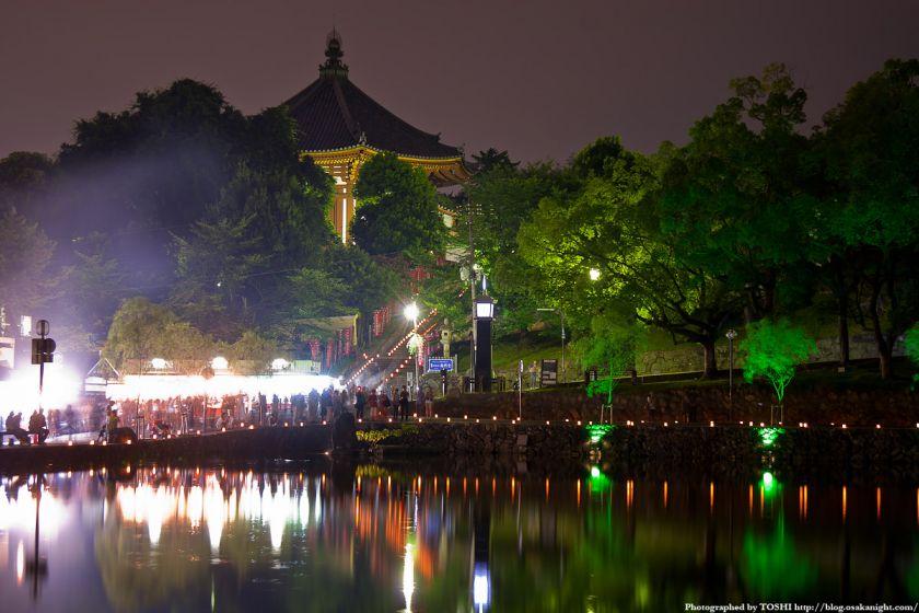 奈良・猿沢池と北円堂の夜景