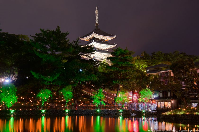 奈良・猿沢池と興福寺のライトアップ