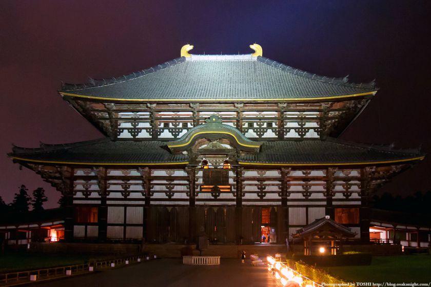 東大寺 大仏殿のライトアップ