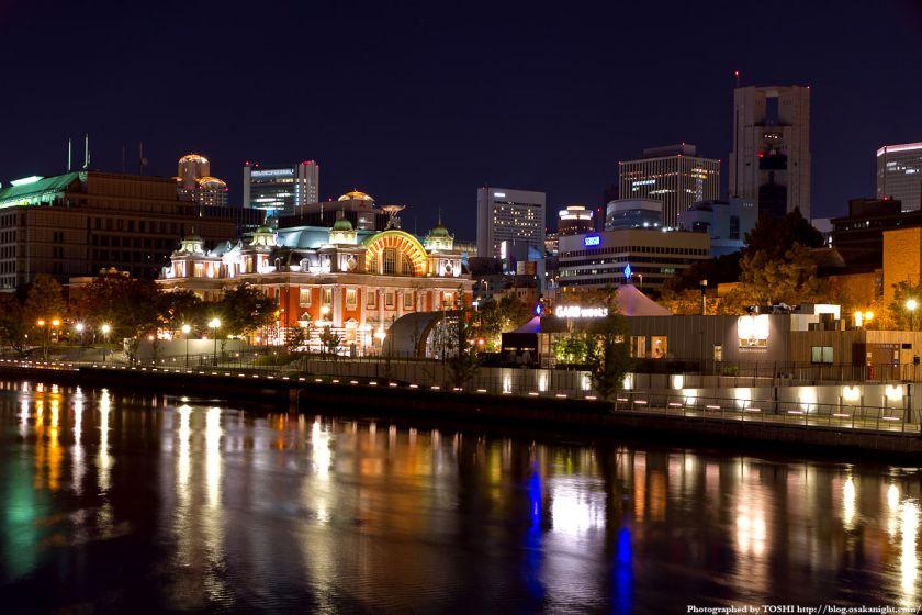 難波橋から見た大阪市中央公会堂の夜景