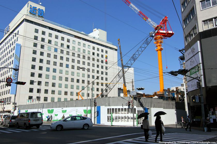 上本町駅南複合ビル(仮称)の建設中写真