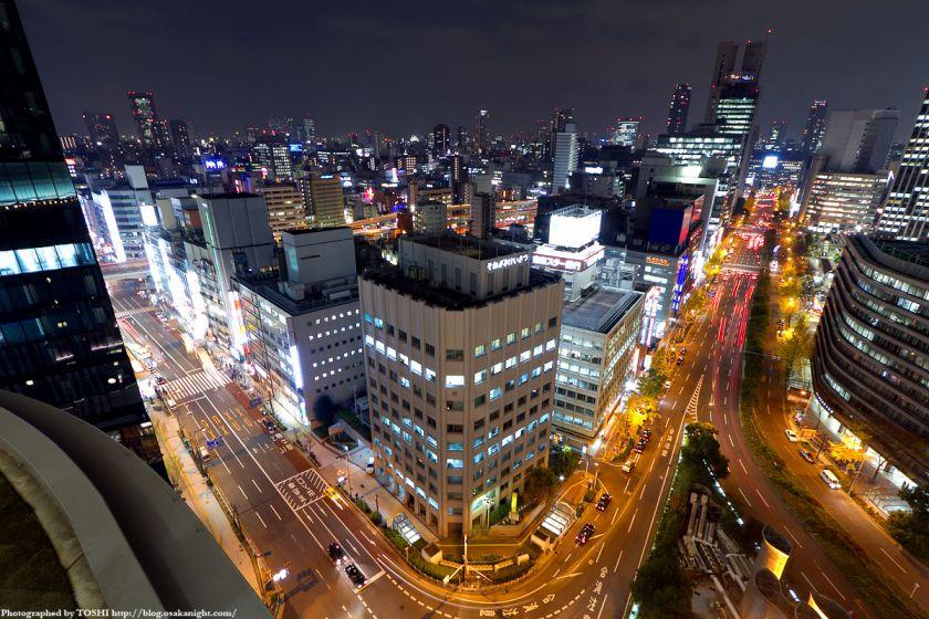 梅田阪急ビル スカイロビーから大阪城方面の夜景