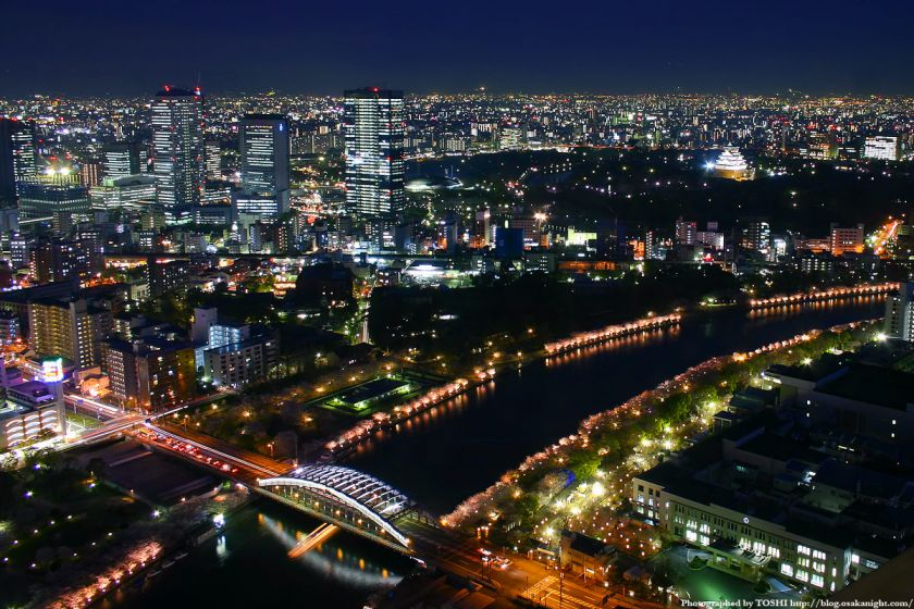 大阪城とOBPの夜景 from OAPタワー