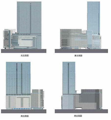 梅田1丁目1番計画ビルビル 立面図