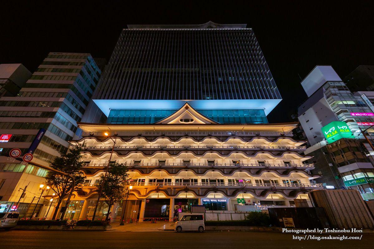 ホテルロイヤルクラシック大阪 ライトアップ夜景 2019年7月