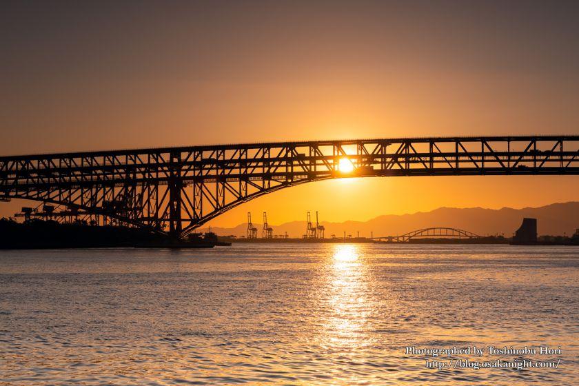 日本一のトラス橋 港大橋のライトアップ夜景